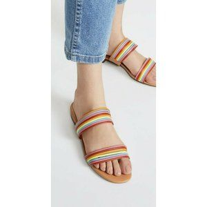 NEW Madewell Rainbow Leather Strappy Meg Slide Sandals